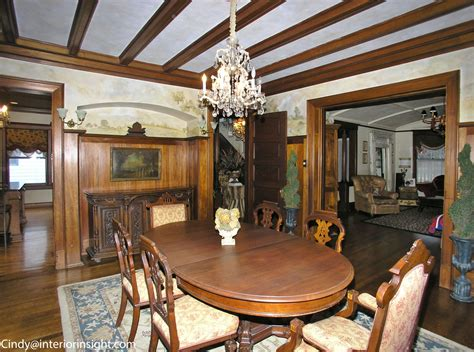 victorian dining room  wooden beam ceilings crystal