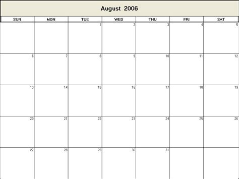 August 2006 Calendar August 2006 Printable Blank Calendar Calendarprintables Net