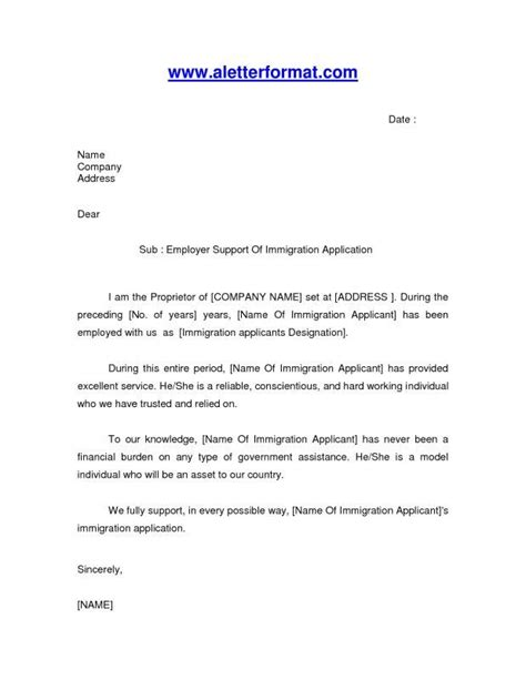 Immigration Employment Letter Format How To Write A Reference Letter For Immigration Template Design