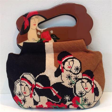 Decoupage Clutch Owl vintage 80s smith moon bags handbag embroidered
