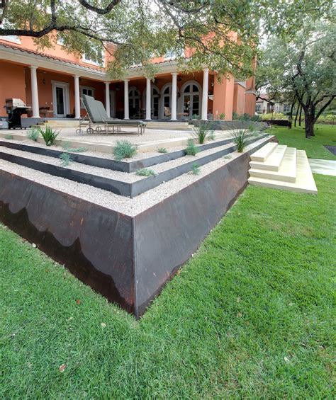 Metal Retaining Wall Landscape Contemporary With Courtyard Garden Metal Wall