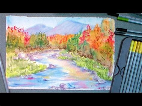 watercolor tutorial frugal crafter a watercolor pencil landscape tutorial the frugal
