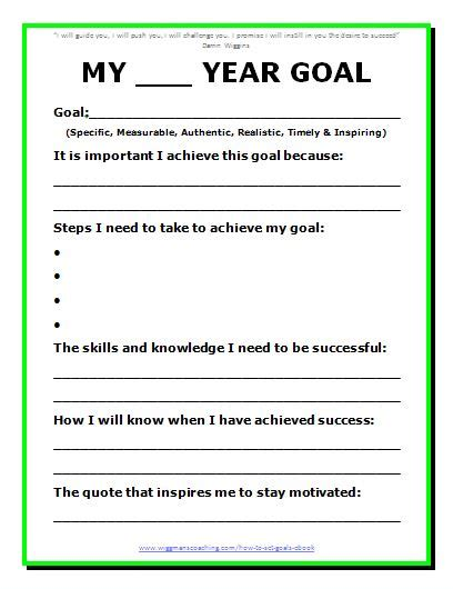 9 best images of goal setting printable worksheet