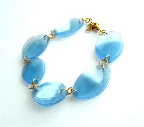 plastic bottle jewelry blue eco friendly bracelet made of recycled plastic