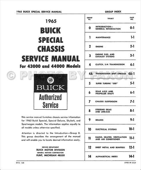 car repair manuals download 1962 buick special lane departure warning 1965 buick special skylark repair shop manual original