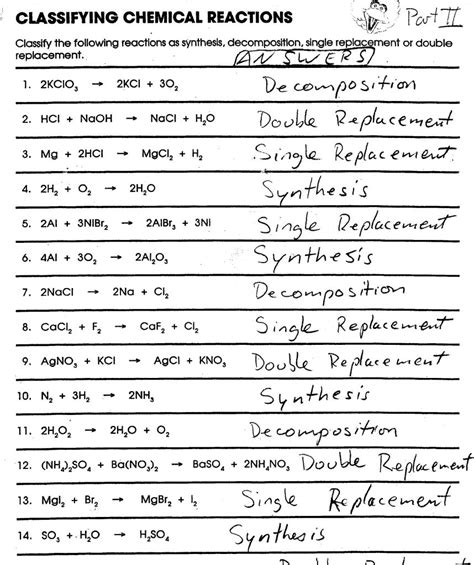 2 4 chemical reactions worksheet answers worksheets classification of chemical reactions worksheet atidentity free worksheets for