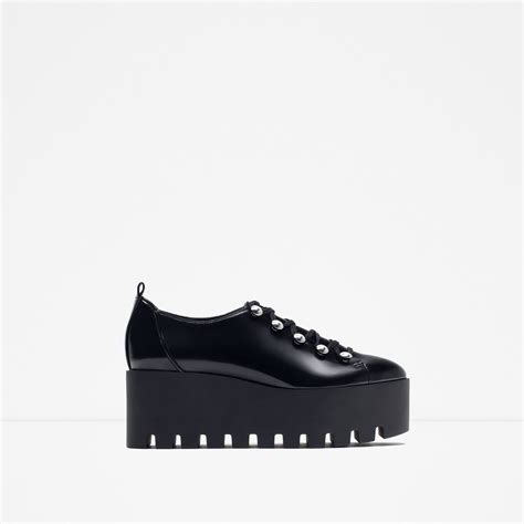 zara flat platform shoes in black lyst