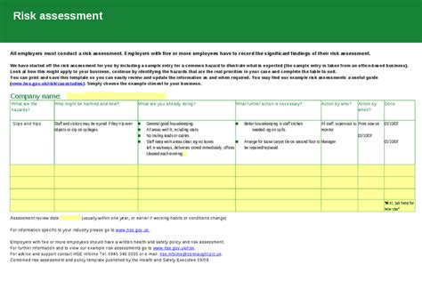 hse template health and safety policy risk assessment template hashdoc