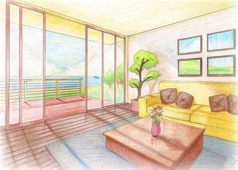 2 Point Perspective Interior Room by Interior Perspective Living Room By Rjldeximo On Deviantart