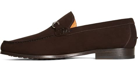 brothers suede loafers brothers suede buckle loafers in brown for lyst