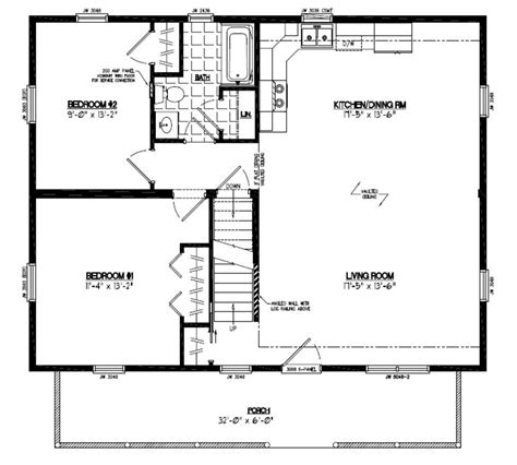 Certified Homes Mountaineer Deluxe Certified Home Floor 28x40 House Plans