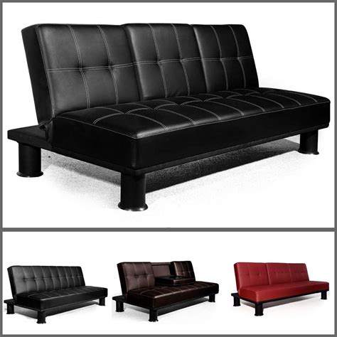 Veelar Modern Faux Leather 3 Seater Sofa Bed Sofa Beds In Ebay Leather Sofas