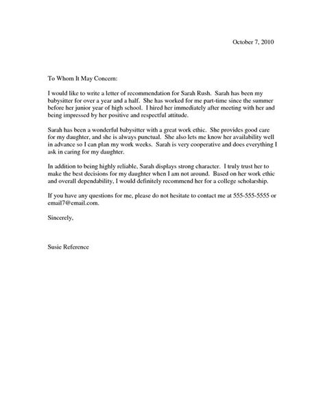 Reference Letter Exles For Recommendation Letter Sles Letter Of Recommendation
