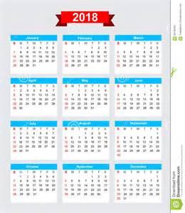 Calendã De 2018 Os Feriados 2018 Calendar Week Start Sunday Stock Vector Image 60740491
