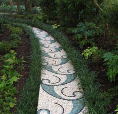 Stone garden path mosaic   Contemporary   Exterior