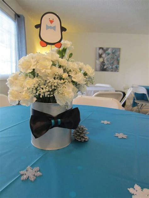Penguin Baby Shower Decorations by Carnation Centerpieces Penguin Baby Shower