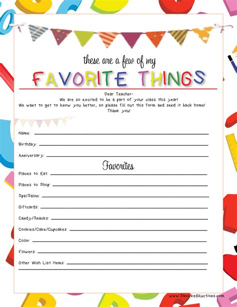 favorite things list template smocked auctions s favorite things