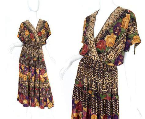 Drss 962 Flowy Roses Maxidress vtg 80s 90s boho chic womens maxi dress from sadiebess