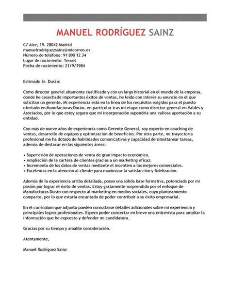 Modelo Cv Directivo Espa A modelo de carta de presentaci 243 n gerente general gerente