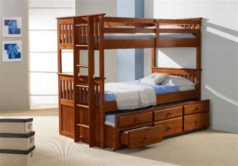 Captain Bunk Bed With Storage Twintwin Captains Bunk Bed With Trundle And Storage Drawers Espresso Finish