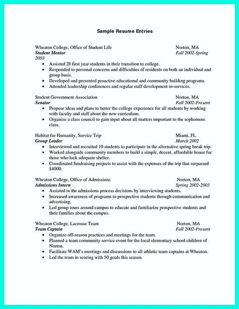 resume sles for students the college resume template to get a