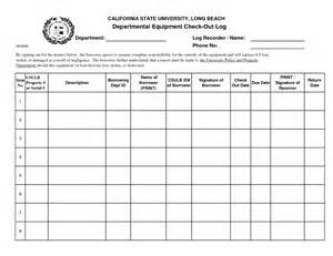 Equipment Log Book Template by Best Photos Of Check Out Form Template Equipment