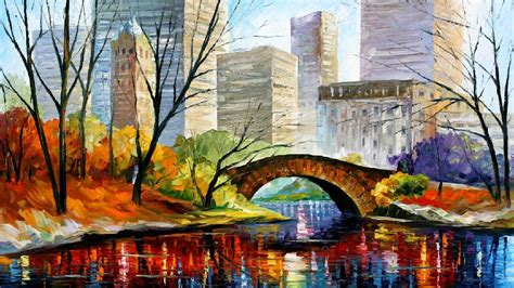 new paint central park new york palette knife oil painting on