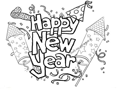 Printable Happy New Year Fireworks Coloring Pages New Years Coloring Pages