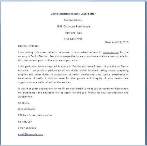 cover letter for cv dentist dental assistant cover letter dental assistant resume