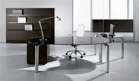 modern glass top computer desk black glass office table