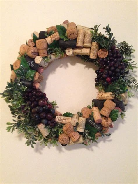 13 handmade wine cork wreath wine and faux grape decor