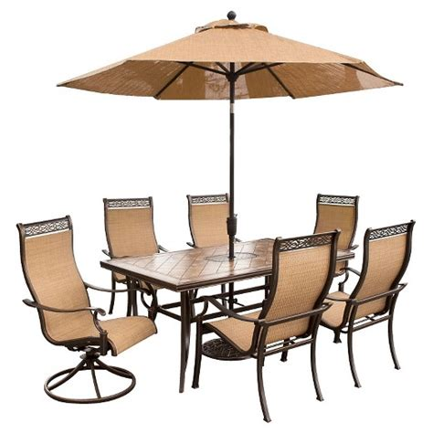 Hanover Outdoor Furniture Monaco 7 Pc Dining Set With 7 Patio Dining Set With Swivel Chairs