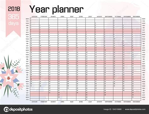 Year Wall Planner 2018 Stock Vector 169 Peliken 164319988 Yearly Planner Template 2018