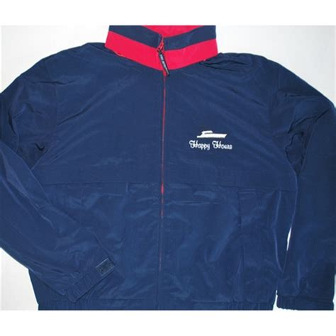 boat names with red weather resistant boat name jacket in navy black and red