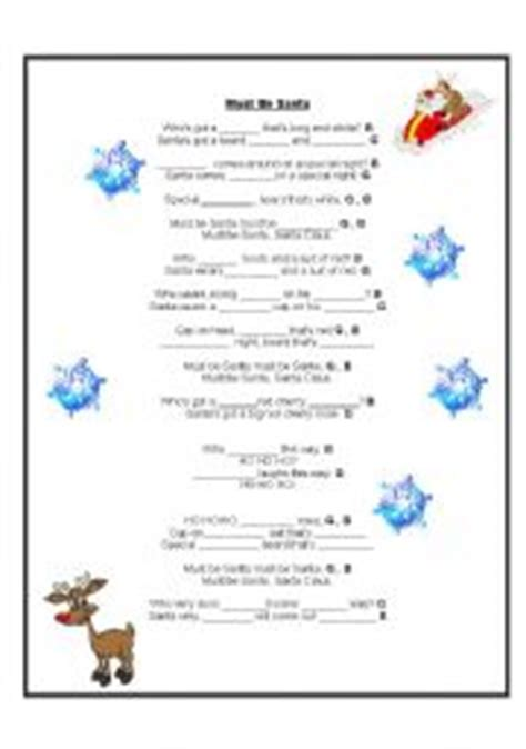 printable lyrics must be santa english worksheet must be santa song