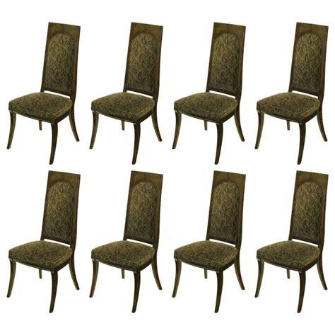 8 dining room chairs set of eight mastercraft amboyna burl and paisley velvet
