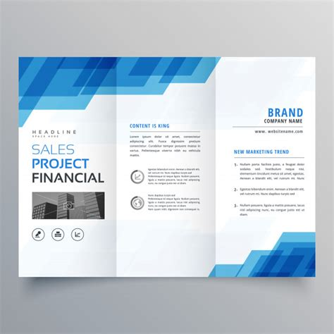 booklet layout software blue geometric trifold business brochure design template