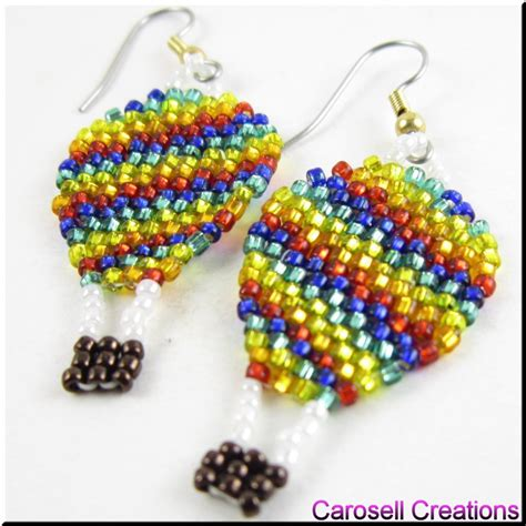 air balloon up and away seed bead earrings by