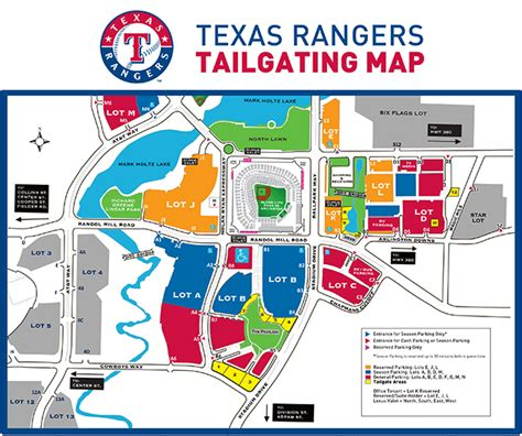 texas rangers stadium map globe park tailgating tips texas rangers