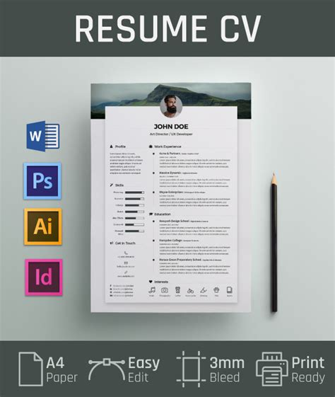 design cv cover page free resume cv design template cover letter in doc psd