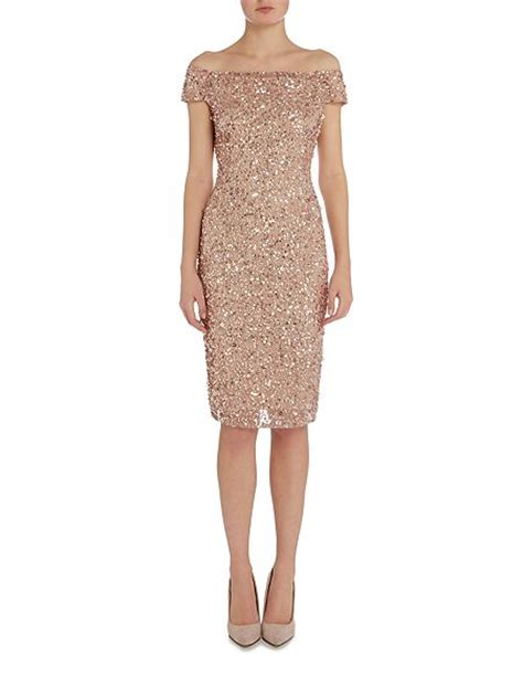papell beaded shoulder cocktail dress house