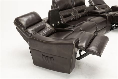 recliner loveseat with cup holder mcombo brown vibrating 4pc home theater recliner media