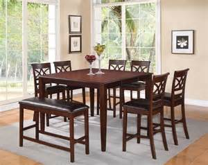 Cherry Wood Dining Table Set F 8 Pc Cherry Wood Counter Dining Set Table Chairs Bench Leather Seat Contemporary Dining