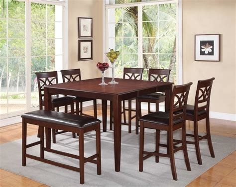 f 8 pc cherry wood counter dining set table chairs bench
