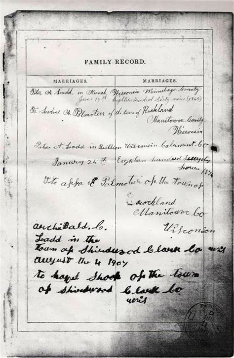 Previous Marriage Records Ladd Family Bible Image Marriage Records