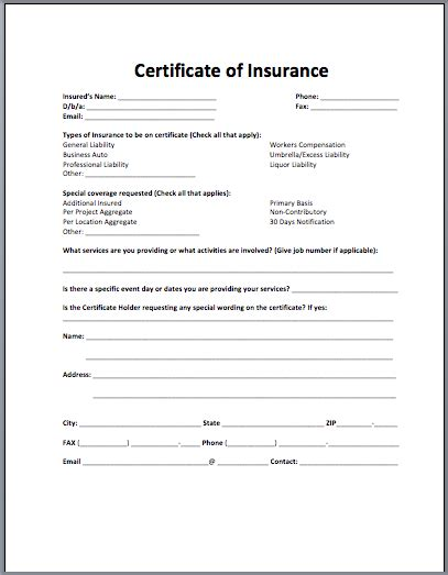 Certificate Of Insurance Request Form Template Business Plan Template Insurance Request For Template