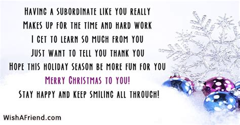 subordinate    christmas messages  coworkers