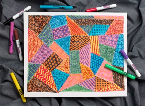 Patchwork Lessons - patchwork quilt crayola