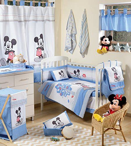 disney baby blue mickey mouse crib bedding set