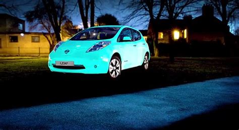 glow in the paint automotive nissan creates glow in the leaf car thanks to uv